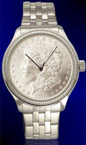 mens watches with bracelet images Morgan silver dollar mens coin watch with uncirculated coin and jpg
