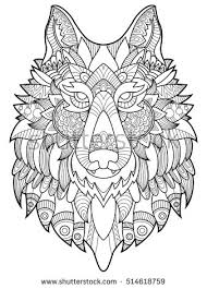 wolf coloring book adults raster illustration anti stress