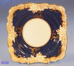 crown staffordshire blue and gold vintage bone china fruit dish