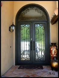 wrought iron and glass front entry door designs paris close up