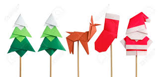 handmade origami paper craft santa claus green christmas trees