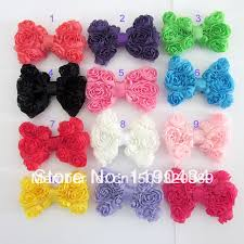 diy baby hair bows 40pcs lot children chiffon flower bows baby toddler