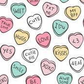 candy hearts candy hearts fabric wallpaper gift wrap spoonflower