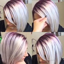 silver blonde hair with dark purple roots hair color and cuts