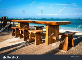 Chairs On A Beach Wooden Cafe Table Chairs On Tropical Stock Photo 116924578