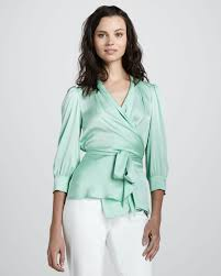 wrap blouses lyst catherine malandrino silky wrap blouse in green