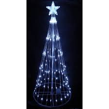 6 white led light show cone tree lighted yard