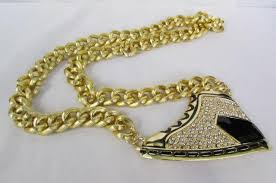 gold necklace new design images Gold long metal necklace basketball sneaker tennis shoe pendant jpg