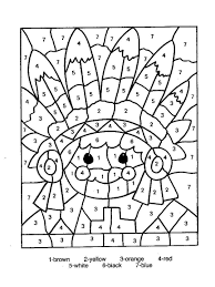 free thanksgiving color by number printable pages chuckbutt com