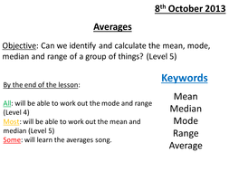 averages mode mean median range level 5 grade e by whidds