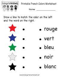 kindergarten french colors worksheet printable worksheets