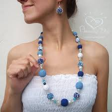 long beads necklace images Exclusive long necklace crochet blue white beaded necklace trendy jpg