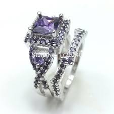 amethyst wedding rings sz5 10 white gold filled princess square cut amethyst women