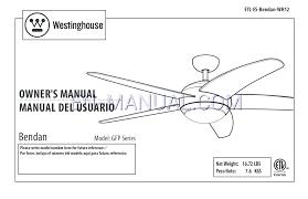 Intertek Ceiling Fan by Instruction Manual For Ceiling Fans Westinghouse Bendan 52 Inch