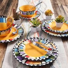 halloween platters gibson home fandango 16 piece dinnerware set yellow walmart com