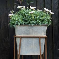 zinc effect planter with stand audenza