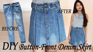 Used Jeans Clothing Line Diy Turn Your Old Jeans Into Skirt Button Front Denim Skirt From