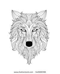 mandala coloring page adults zentangle wolf stock vector 542680396