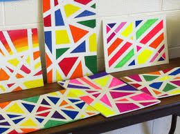 abstract canvas paintings ideas with colot ful and small shape and