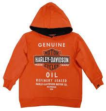 harley davidson big boys u0027 orange genuine bar u0026 shield oil hoodie