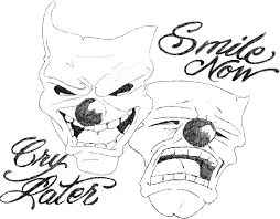 collection of 25 laugh now cry later words skulls tattoos