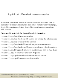top 8 front office clerk resume samples 1 638 jpg cb u003d1431068725