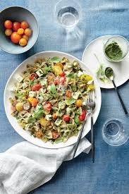 pesto pasta salad with tomatoes and mozzarella recipe myrecipes