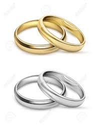 symbolic rings symbolic wedding objects with gold and silver metal rings in