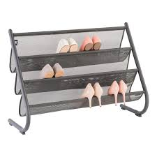 Container Store Shoe Cabinet Umbra Charcoal Slant Shoe U0026 Accessory Organizer The Container Store