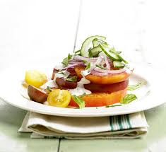 heirloom tomato salad with blue cheese dressing midwest living