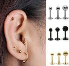 stud cartilage piercing surgical steel bar earring stud tragus cartilage piercing