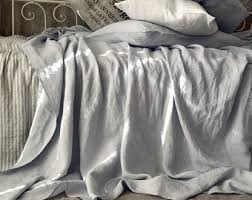Grey Linen Bedding - pinstriped linen fitted sheet grey u0026 white stripes double
