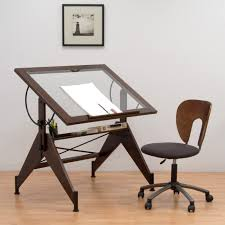 Studio Designs Aries Glass Top Drafting Table Sonoma Brown Clear
