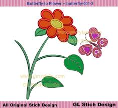 flower applique with filled butterfly machine embroidery applique