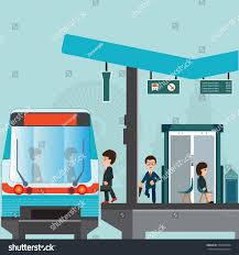 people wait train train station platform stock vector 569079994