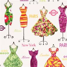 white mannequin fabric with dresses by robert kaufman fabric