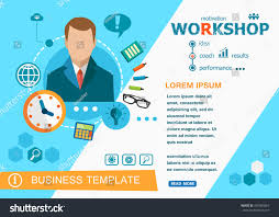 workshop design concepts words learning training stock vector