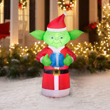 wars christmas decorations 5 airblown yoda with present wars christmas by
