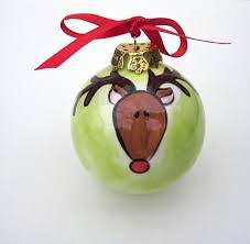 painted personalized ceramic bulb reindeer