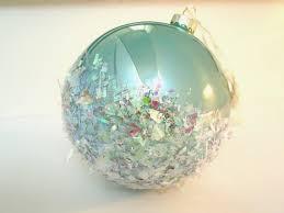 tree ornament oversized glass aqua opal with iridescent