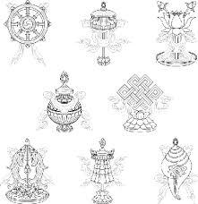 eight auspicious signs ashtamangala line drawing
