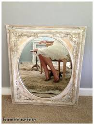 ornate baroque vintage wood frame mirror painted paris gray
