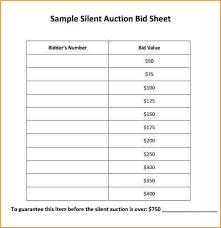 Bid Sheet Template Silent Auction Bid Sheets Free Sle Silent Auction Bid Sheet Jpg