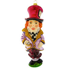 mad hatter in glass ornament