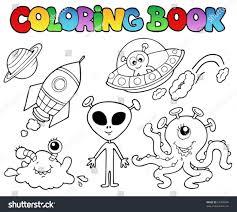 coloring book aliens vector illustration stock vector 67708546