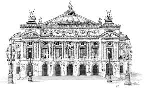 palais garnier or paris opera house pen and ink line art
