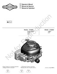 briggs u0026 stratton 210000 user manual 28 pages also for 310000