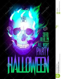 halloween party design with skull in flames royalty free stock