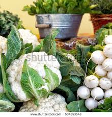 farm to table concept cauliflower white turnips displayed farmers market stock photo