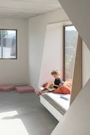 use of deep window sill as seating note shape of sides home